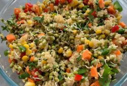 Quinoa, vegetables and moong sprouts salad